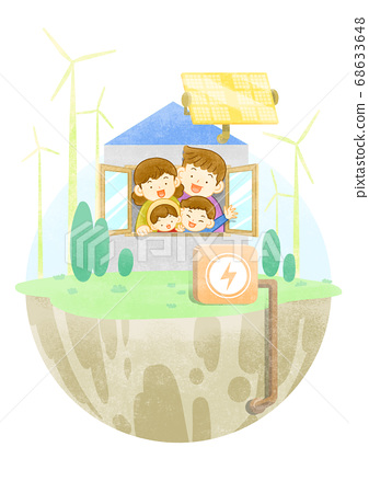 Green eco energy concept. Green earth illustration 013 68633648