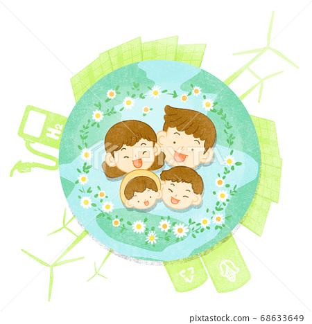 Green eco energy concept. Green earth illustration 011 68633649