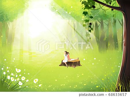 Summer fantasy forest landscape illustration 008 68633657