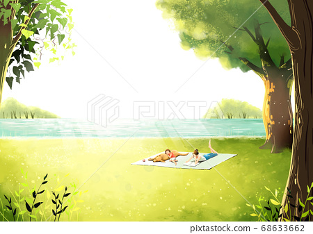Summer fantasy forest landscape illustration 001 68633662
