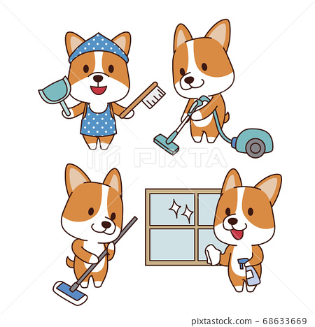 Set of animal emoticon. Cartoon dog in different job characters illustration 006 68633669