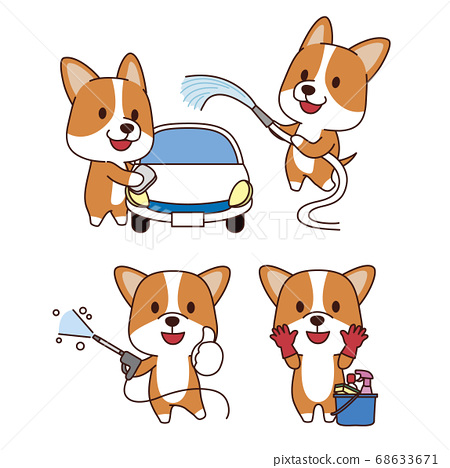 Set of animal emoticon. Cartoon dog in different job characters illustration 007 68633671