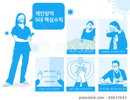 Social distancing, keep distance in public society people to protect from COVID-19 illustration 007 68633683