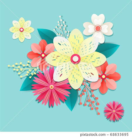 Paper flowers, isolated floral design elements illustration 010 68633695
