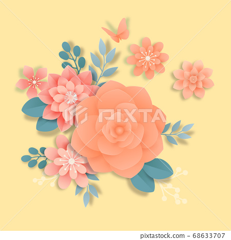 Paper flowers, isolated floral design elements illustration 001 68633707