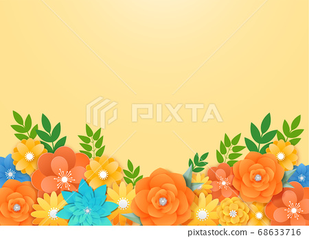Paper flowers, isolated floral design elements illustration 011 68633716