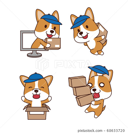 Set of animal emoticon. Cartoon dog in different job characters illustration 002 68633720