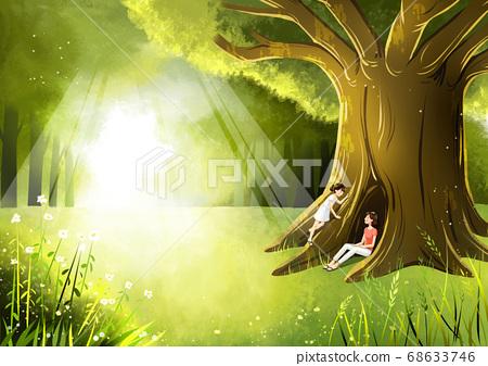 Summer fantasy forest landscape illustration 007 68633746