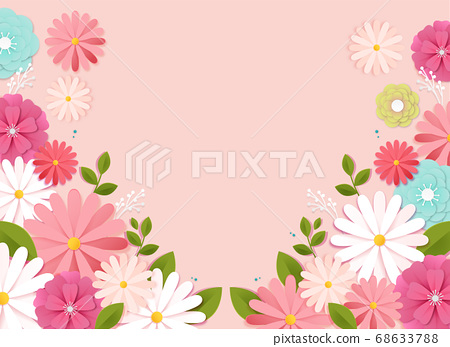 Paper flowers, isolated floral design elements illustration 009 68633788