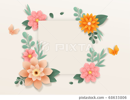 Paper flowers, isolated floral design elements illustration 003 68633806