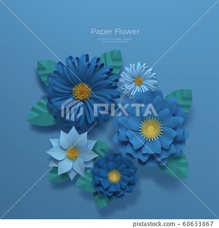 3D realistic paper Flowers 013 68633867