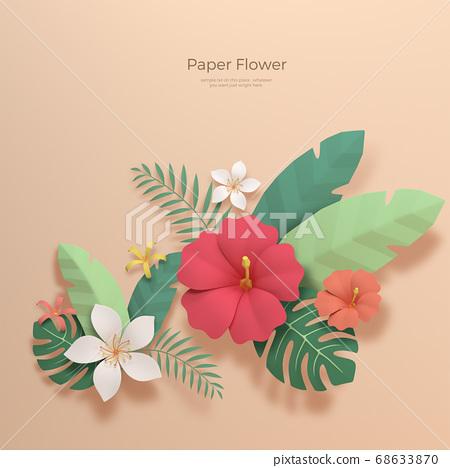 3D realistic paper Flowers 019 68633870