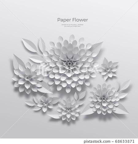 3D realistic paper Flowers 017 68633871
