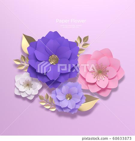 3D realistic paper Flowers 012 68633873