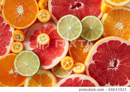 Close up of citrus fruits. 68633925