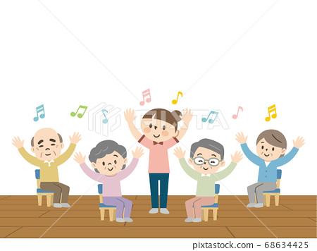 Elderly people enjoying recreation at a nursing home 68634425