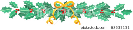크리스마스 홀리와 리본 그린 바람 벡터 장식 68635151