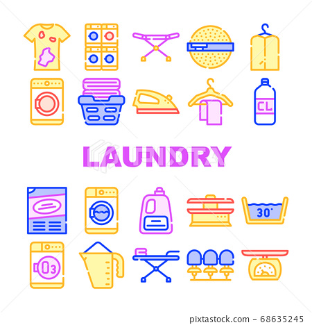 Laundry Service Tool Collection Icons Set Vector 68635245