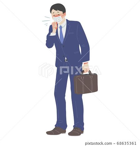 마스크를하고 기침을하는 직장인 남성의 전신 일러스트 68635361