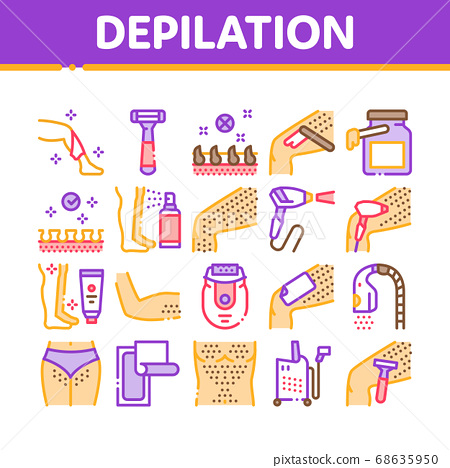 Depilation Procedure Collection Icons Set Vector 68635950