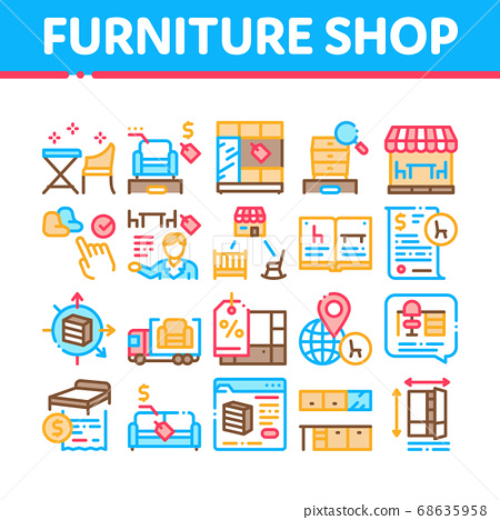 Furniture Shop Market Collection Icons Set Vector 68635958