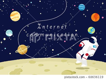 宇航員站在月球上,互聯網通信圖像 68636119