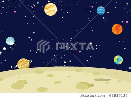 月亮和行星的背景說明 68636122