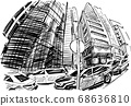 Drawing of the building in Hong Kong hand draw  68636810
