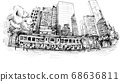 Drawing of the building in Hong Kong hand draw  68636811