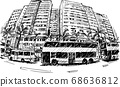 Drawing of the building in Hong Kong hand draw  68636812