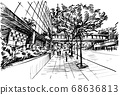 Drawing of the building in Hong Kong hand draw  68636813