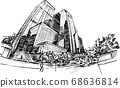 Drawing of the building in Hong Kong hand draw  68636814