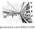 Drawing of the walk way in Hong Kong hand draw  68637284