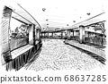 Drawing of the walk way in Hong Kong hand draw  68637285