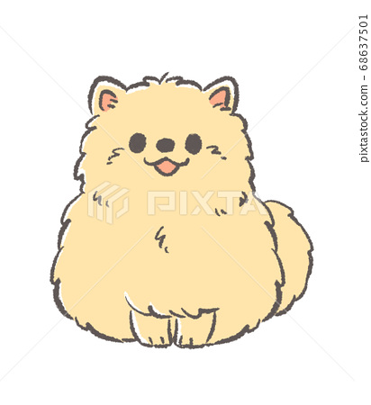 坐在博美犬的插圖 68637501