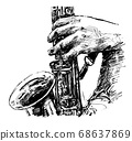 Drawing of the musician plays saxophone hand draw  68637869