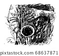 Drawing of the musician plays saxophone hand draw  68637871