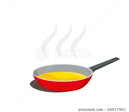 Frying pan with food cooking. Vector illustration. 68637902