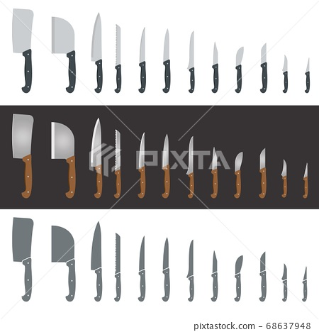 Set of twelve different knives and hatchets for 68637948