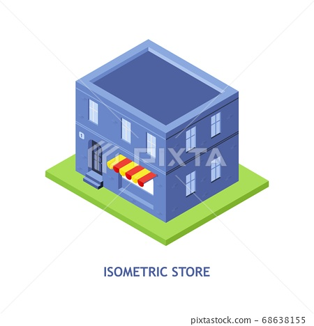 Isometric store building. 68638155
