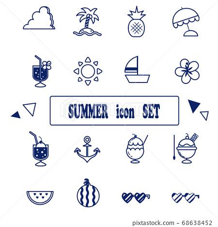 summer icon line drawing illustration set stock illustration 68638452 pixta pixta