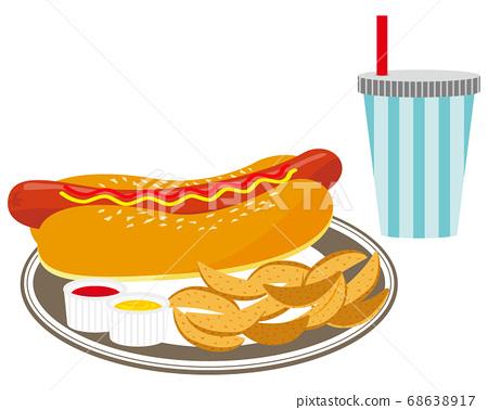 矢量圖的熱狗設置與薯條和飲料 68638917
