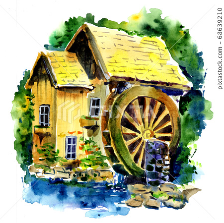 Watercolor drawing of an old water mill. Wooden mill surrounded by green forest 68639210