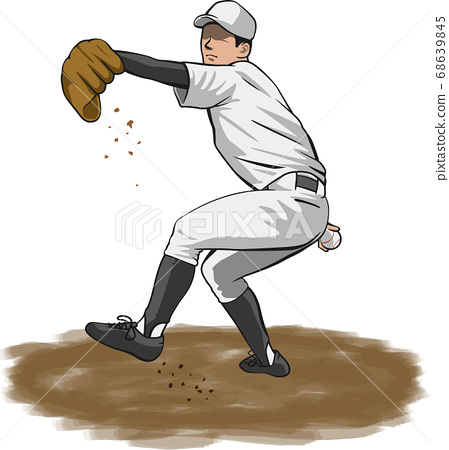 投手(棒球運動員)的圖像插圖 68639845