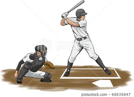 擊球(棒球運動員)的圖像插圖 68639847