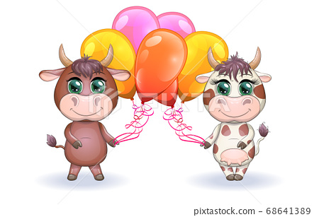 Cute cartoon couple cow and bull with balloons, 68641389