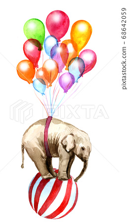 Watercolor drawing of an elephant flying in balloons 68642059