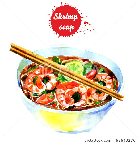 Watercolor drawing of crab soup. Soup in a bowl with noodles, lemon and chopsticks 68643276