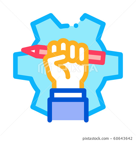 hand holding pencil icon vector outline illustration 68643642