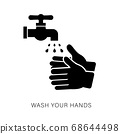 Hand Washing Flat Icon Isolated on white Vector. 68644498